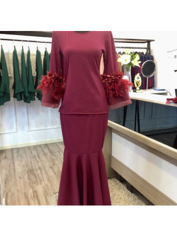 Photo 1 of Baju kurung modern TP-96001 Baju kurung modern dewasa- plain  Baju kurung modern lengan kembang, kain kembang payung