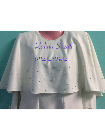 Photo 3 of Moden KM1 Kurung Moden With Cape- White- Nikah