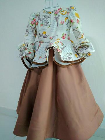 DM01 - Dress muslimah kanak-kanak, Dress peplum 720,  2 lapis,  hujung tangan cubit-cubit,  tali belakang,  dan horse hair