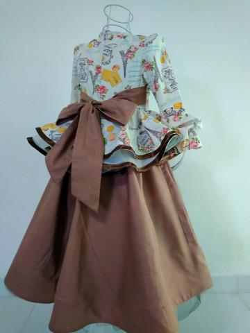 Photo 3 of Dress muslimah kanak-kanak DM01 Dress peplum 720,  2 lapis,  hujung tangan cubit-cubit,  tali belakang,  dan horse hair