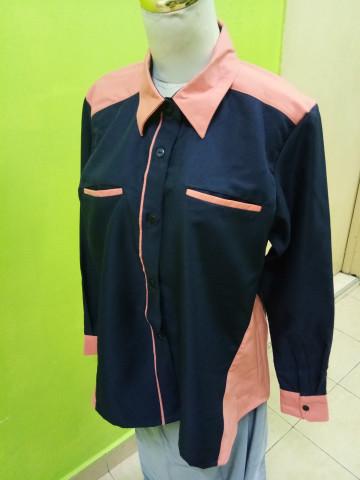 Photo 2 of Baju korporat TP-501002 Gabungan 2 warna, tangan berkaf kemeja dan poket sorok.. Leher kontinental.