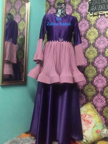 TP-422016 Dress puplum pleated with 3D beading