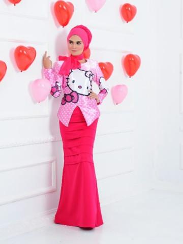 Photo 1 of Kebaya Moden TP-527011 Kebaya moden bertema kan Hello Kitty bersama kain duyung berpleated