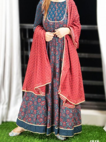 Photo 1 of Bollywood Collections TP-988001 Art silk Hand block print Anarkali with gotta detailing with block cotton dupatta - 
