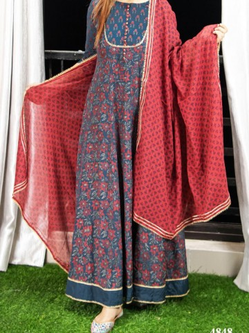 Photo 2 of Bollywood Collections TP-988001 Art silk Hand block print Anarkali with gotta detailing with block cotton dupatta - 