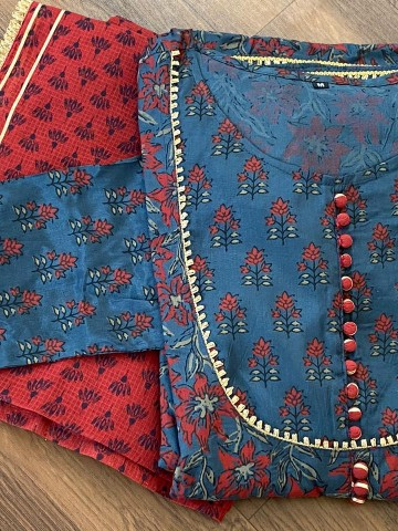 Photo 3 of Bollywood Collections TP-988001 Art silk Hand block print Anarkali with gotta detailing with block cotton dupatta - 