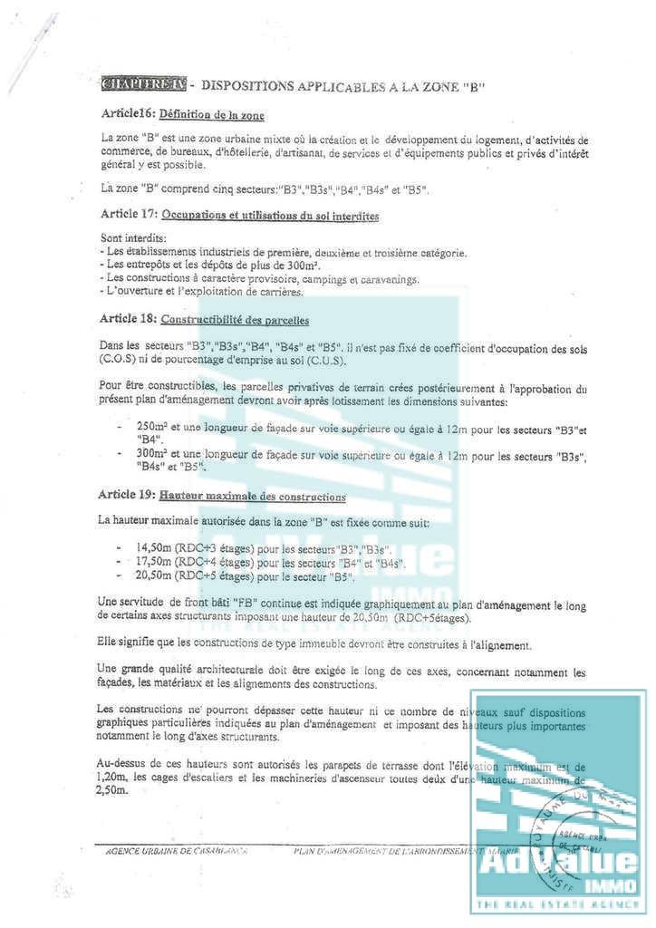 DV.367 : Terrain à vendre en R+4 (B4s ) à Palmier :