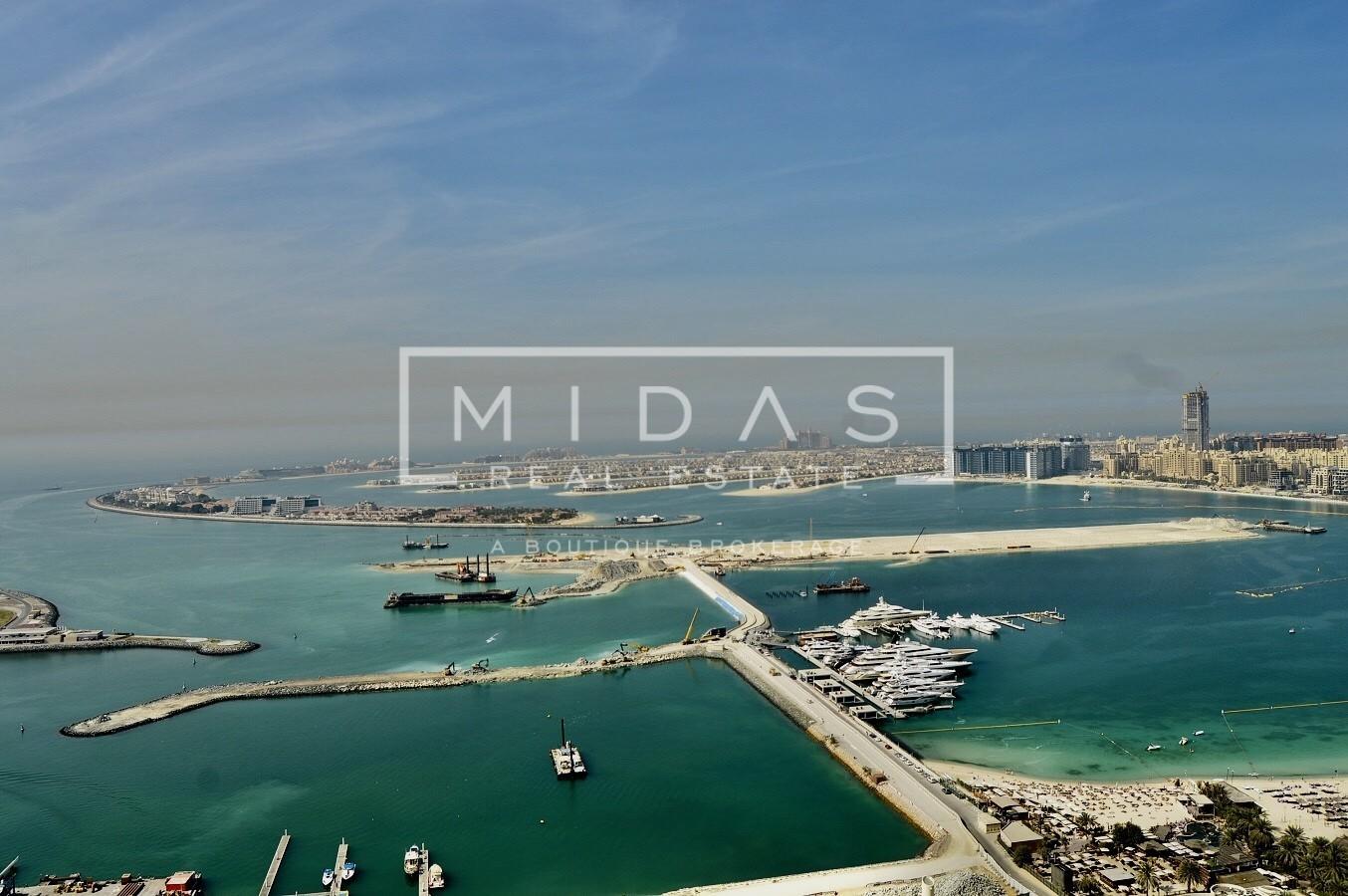Furnished 3BR w/ Dubai Eye & Full Palm Sea View