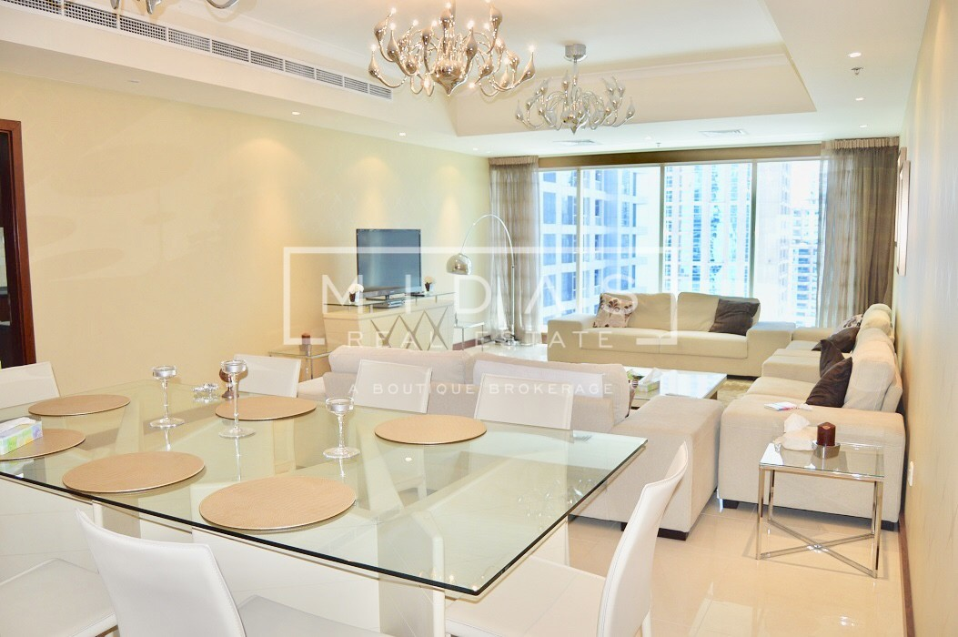Spacious Furnished 3BR+Maids w/ Marina View