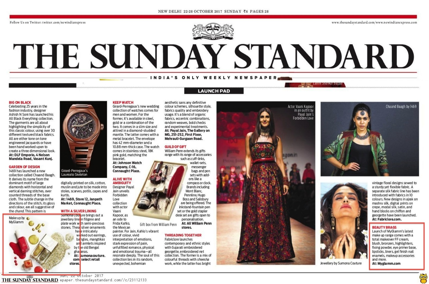 The Sunday Standard - 22nd-28th October 2017 - MyGlamm Products