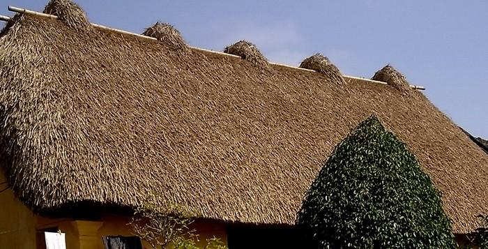 Trên nóc nhà có 5 ụ rơm nhỏ, gọi là các con rom hay ngũ phúc, là các thanh tre, thép, được cuộn rạ để bắt chặt mái, tránh gió bão và cũng để trang trí cho mái nhà.