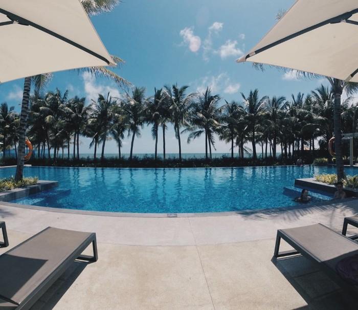 Hồ bơi cùng hàng dừa tươi mát- Ảnh: laurariley