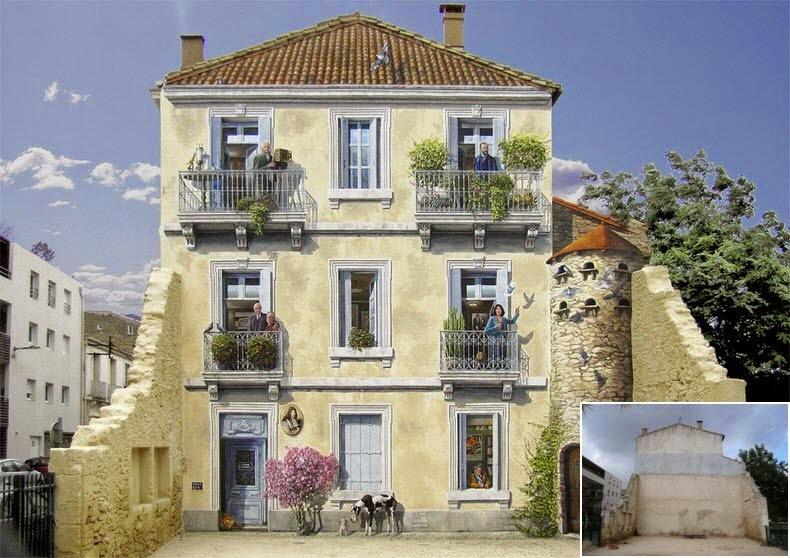 Nghệ sĩ Pháp Patrick Commecy cảm thấy nhiều mặt tiền của các tòa nhà khắp đất nước trông thật nhàm chán. Do đó, ông cùng cộng sự của mình đã thỏa sức sáng tạo để cho ra đời các kiệt tác độc đáo. Bức ảnh trên là một trong các kiệt tác của Patrick, được hoàn thành từ một bức tường trống, đổ nát.