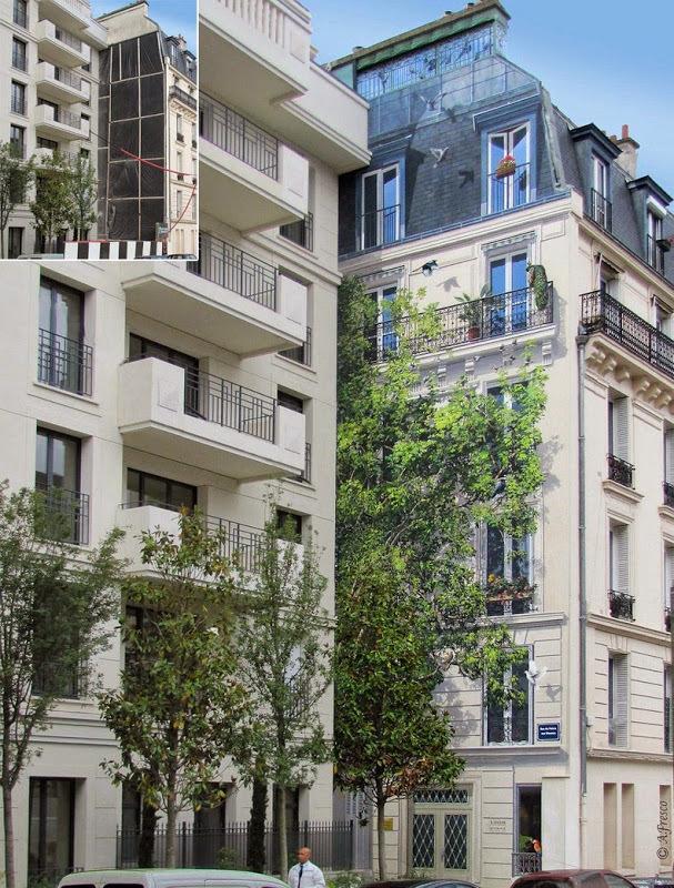 Thoạt nhìn, nhiều người sẽ không phát hiện ra điều bất thường ở hai tòa nhà này. Tuy nhiên nếu nhìn kỹ, bạn sẽ nhìn thấy khung cảnh của tòa nhà thứ hai là tác phẩm được vẽ lên, thậm chí phần cành lá phía trên của cái cây cũng là sản phẩm của sự sáng tạo.