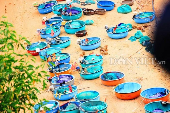 Những chiếc thuyền thúng đang 'nghỉ ngơi' trên bãi cát