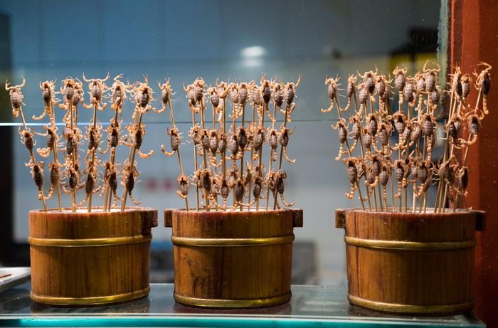 Bò cạp nhiệt đới, loại có nọc độc cũng được mang đi chiên giòn. Món ăn khiến nhiều người nhíu mày nhăn mặt khi nhìn thấy.