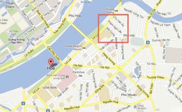 Bản đồ của khu phố tây Huế