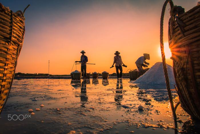 Hoàng hôn bên ruộng muối - Ảnh: Rio Nguyen