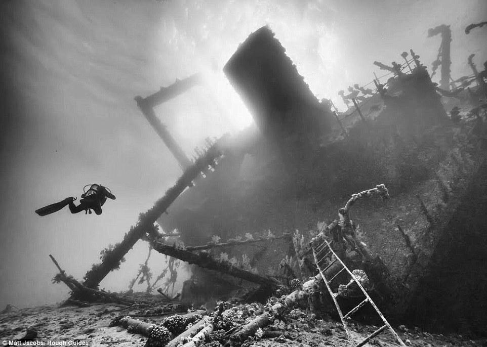 Thợ lặn một mình lặn gần con tàu đắm dưới đáy biển của Matt Jacobs.