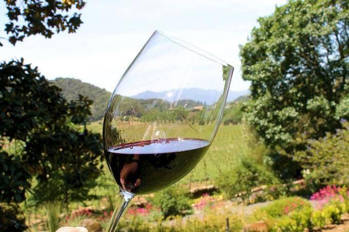 Nhâm nhi ly rượu vang ngắm cảnh thiên nhiên yên bình
