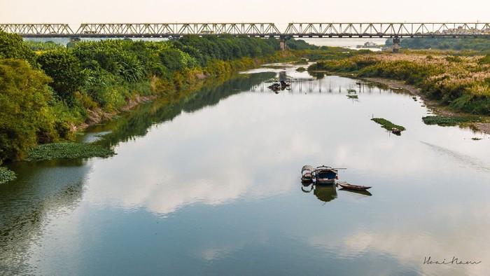 Dòng sông lặng, thuyền nhẹ trôi bên cánh đồng lau