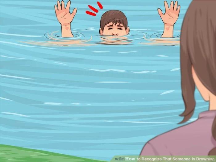 Người bị đuối nước thường vùng vẫy để miệng ở ngang hay trên mặt nước - Ảnh: WikiHow