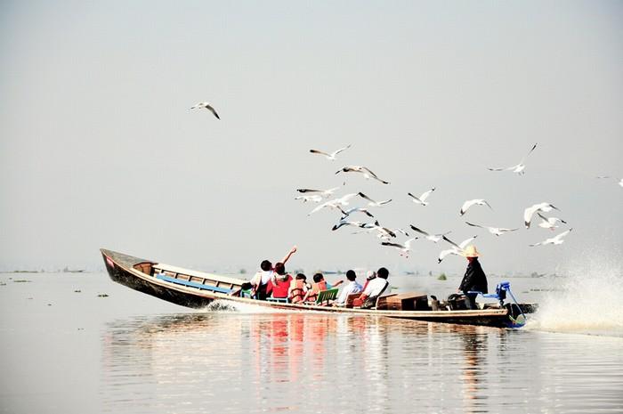 Một sáng đẹp trời trên mặt hồ Inle (Myanmar) đẹp như tranh vẽ. Chỉ tốn 15.000-20.000 kyat (17-23 USD) cho cả một ngày dài, Hằng được người lái thuyền đưa đến hết các chợ nổi và xưởng bạc.