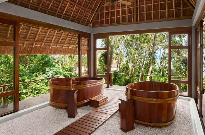 Một góc của khu spa với không gian hòa hợp với thiên nhiên