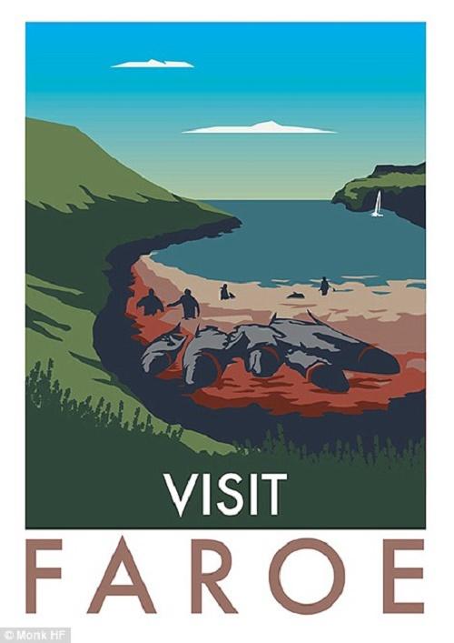 Cuối cùng là bãi biển với xác cá voi bị săn bắt trái phép nằm la liệt ở quần đảo Faroe của Đan Mạch.