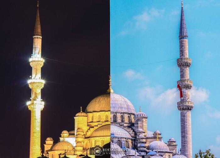 Chung một góc nhìn nhưng thánh đường Hồi giáo vào ban sừng sững với nền trời xanh thì ban đêm lại rực rỡ sắc vàng của những ánh đèn.