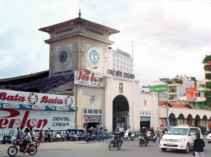 Chợ Bến Thành với những biển hiệu quảng cáo xanh - đỏ - vàng đặc trưng thời xưa và nay. Nơi đây vẫn là trung tâm mua sắm nhộn nhịp bậc nhất trong thành phố.