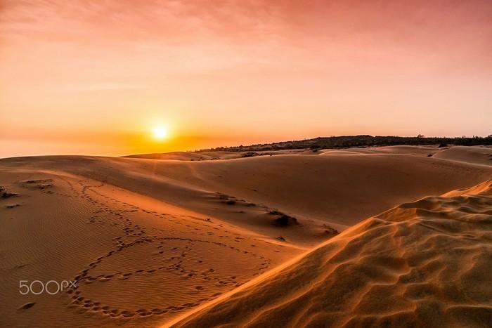 Hoàng hôn huyễn hoặc trên đồi cát bay