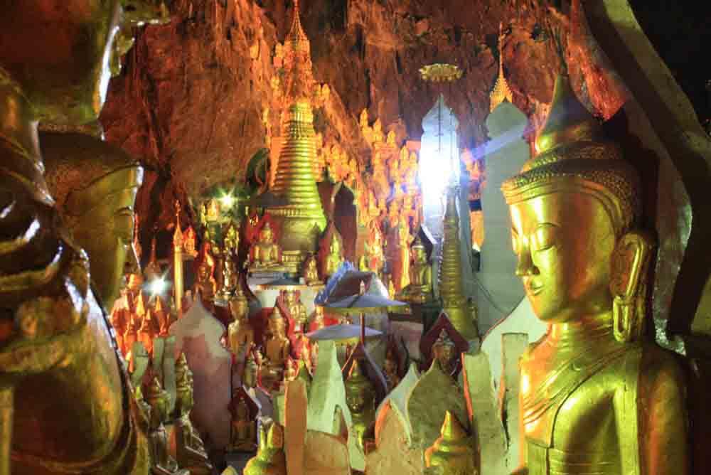 ĐộngPindayaở Shan States có hàng nghìn tượng, tranh ảnh thờ Phật, có tuổi đời từ khoảng đầu thế kỷ 18.