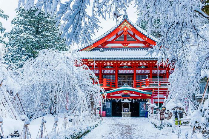 Ngôi đền Natadera vào mùa đông
