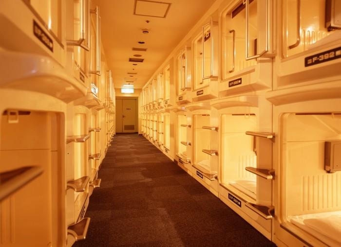 Khách sạn có thiết kế độc đáo với buồng ngủ như những chiếc hộp xếp liên tục vào nhau. Mỗi phòng đóng mở bằng một cánh cửa hoặc tấm màn riêng biệt. Có những khách sạn chỉ dành riêng cho đàn ông, nhưng cũng có một số nơi chia tầng riêng biệt cho nam và nữ.