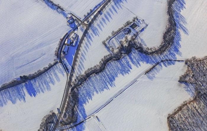 Hình ảnh nhìn từ trên cao của một ngôi làng ở Upper Franconia, bang Bavaria, miền nam nước Đức.