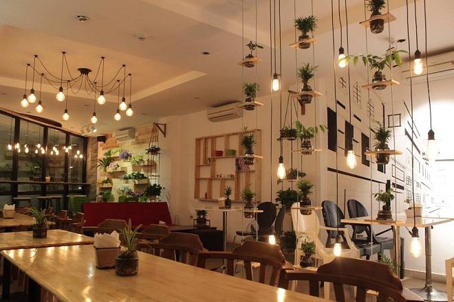Green Coffee:Đúng như tên gọi, quán có cây xanh ở khắp nơi, từ lối đi, lan can cầu thang đến ô cửa sổ