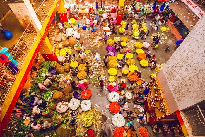 Chợ hoa nổi tiếng Ấn Độ