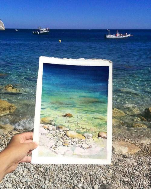 Màu nước biển được khắc họa tỉ mỉ, y như thật.