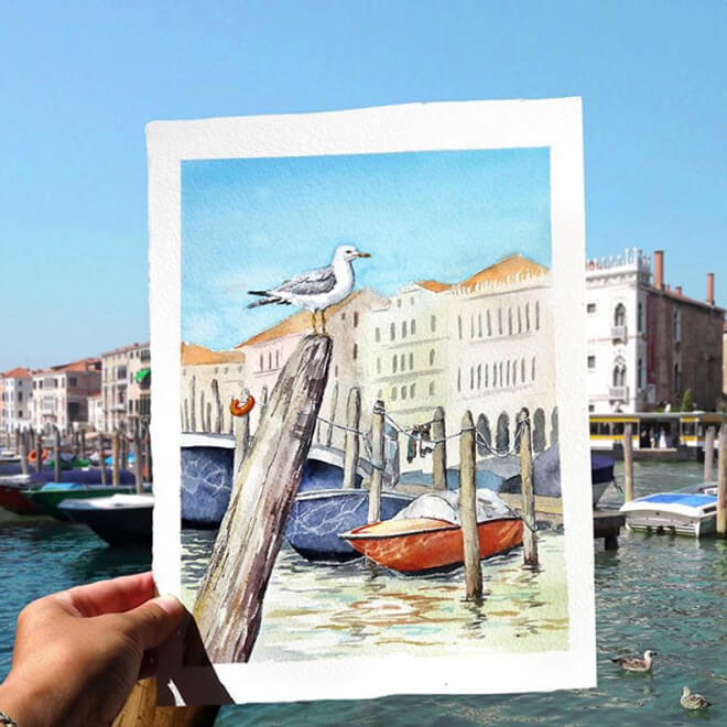 Những con kênh thơ mộng ở Venice, Italy.