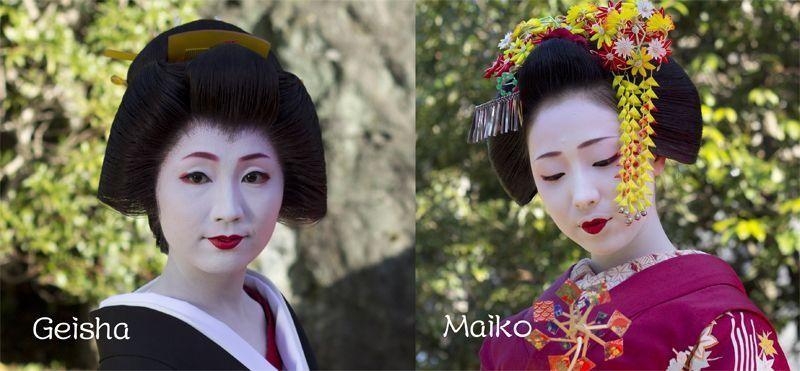 Sự khác biệt trong cách trang điểm của Geisha và Maikotrong cách trang điểm