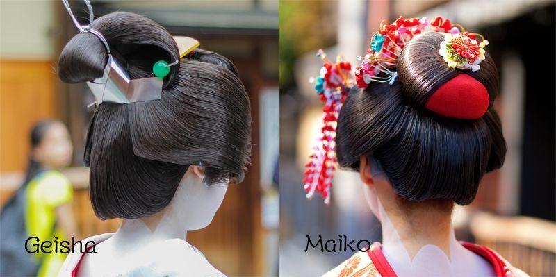 Cách búi tóc của Geisha và Maiko cũng có sự khác biệt