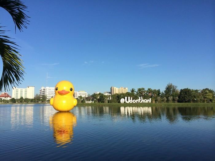 Các du khách đến Udon Thani thường chụp ảnh check-in cùng chú vịt vàng khổng lồ đặt giữa hồ trong trung tâm thành phố.