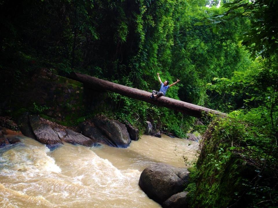 Thử mạo hiểm đi qua cây cầu gỗ trơn - Ảnh: Cang Vo Van