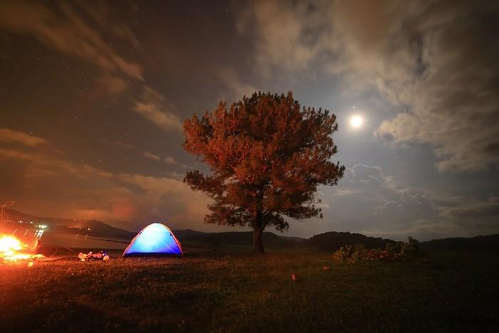 Sau cả ngày khám phá khu vực xung quanh với nhiều trải nghiệm thú vị, đêm về dựng lều, gom củi, nhóm lửa và ăn tối. Mùi thơm ngọt của bắp nướng như đánh tan cái lạnh giữa núi rừng Đà Lạt.