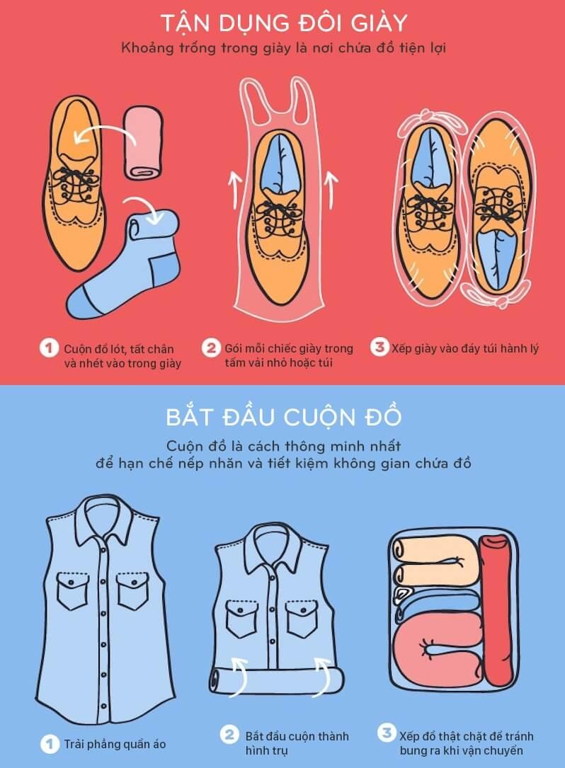 8 mẹo sắp đồ để tiết kiệm khoảng trống trong vali 3