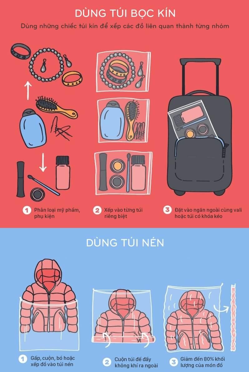 8 mẹo sắp đồ để tiết kiệm khoảng trống trong vali