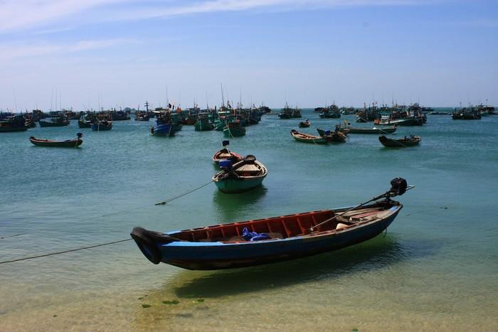 Những chiếc tàu cá nằm phơi nắng