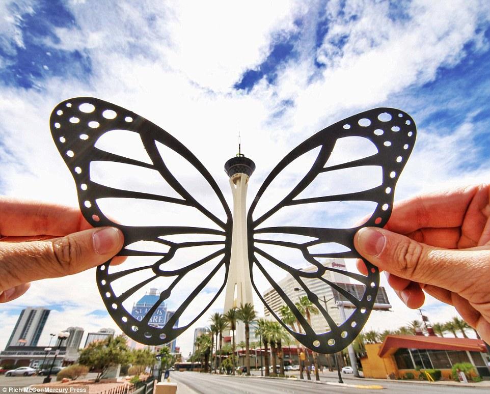 Đôi khi Rich cũng cắt hình động vật để ghép ảnh. Trên đây là một chú bướm khổng lồ với thân chính là tòa nhà Stratophere ở Las Vegas.