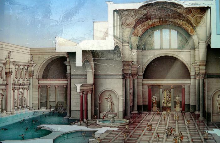 Quang cảnh tái hiện của nhà tắm Caracalla, nhà tắm công cộng nổi tiếng nhất thời đại La Mã